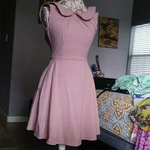 Peter Pan collar pink dress
